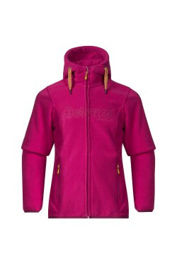 Bergans Кофта W18 Bryggen Youth Girl Jkt Cerise/DustyCerise/Yellowgreen 6917